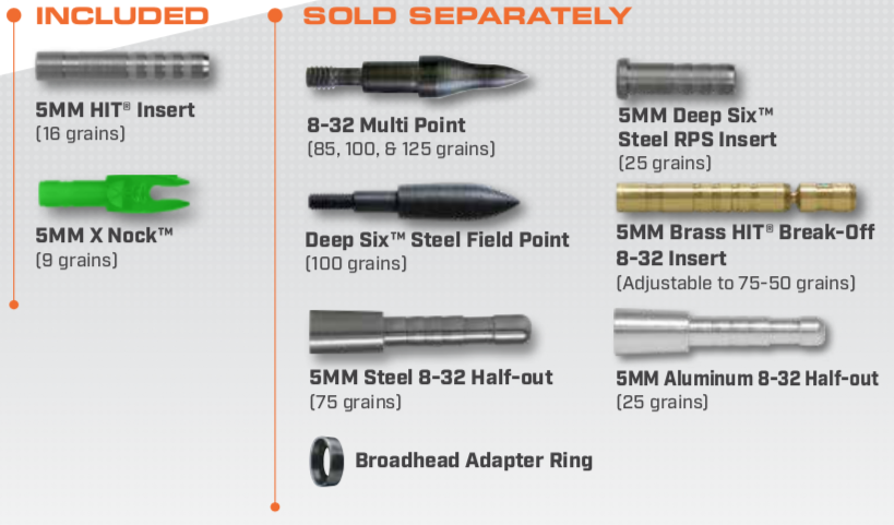 Components for 5mm Axis Carbon Arrows