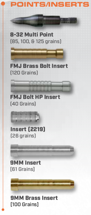 Points and Inserts for Crossbow Bolts
