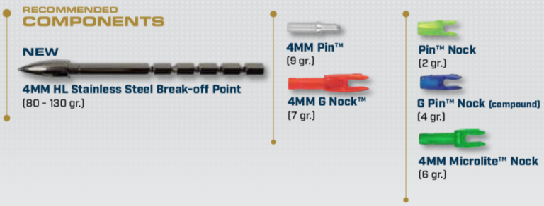 Components for the A/C/E 4mm Arrow