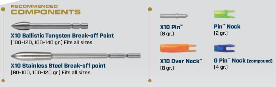 Components for the X10 Aluminum Carbon Arrow