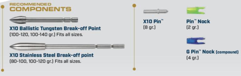Components for the X10-Pro tour aluminum carbon arrow