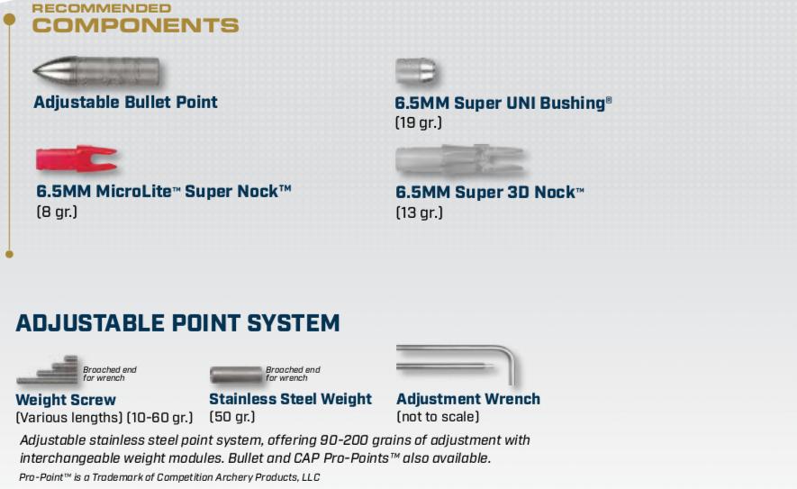 Components for the X27 Aluminum Arrow