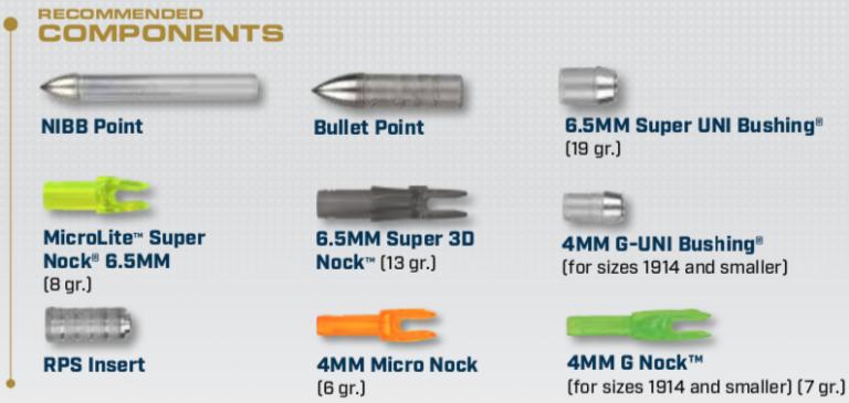 Components for the XX75 Platinum Plus Arrows