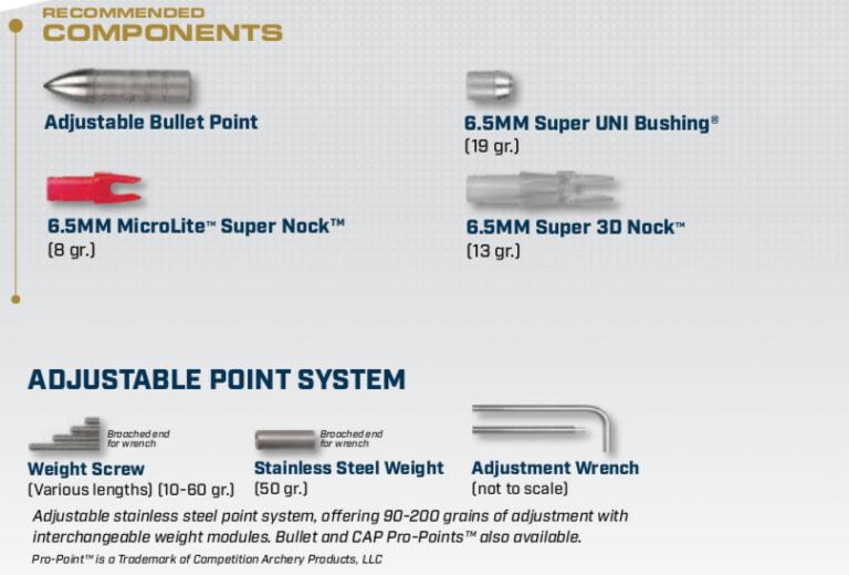 Components for the X23 Aluminum Arrow