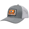 Picture of the Easton Diamond Logo on a white patch. Grey Hat with White Mesh